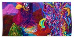 Bath Towel featuring the painting Rooster On The Horizon by Eloise Schneider