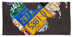 Rooster Recycled License Plate Art On Gray Wood Hand Towel