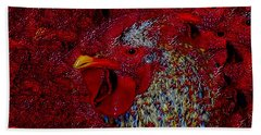 Hand Towel featuring the photograph Rooster Red by Amanda Smith