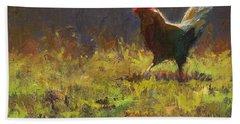 Rooster Strut - Impressionistic Chicken Landscape - Abstract Farm Art - Chicken Art - Farm Decor Bath Towel