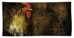 Bath Towel featuring the mixed media Rooster With Brush Calligraphy Loyalty by Peter v Quenter