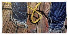 Roping Boots Hand Towel by Marilyn  McNish