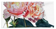 Pink And Yellow Rose Anne Bath Towel