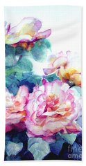 Hand Towel featuring the painting Pink Rose Bush by Greta Corens