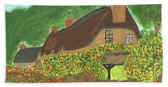 Hand Towel featuring the painting Rose Cottage by Tracey Williams