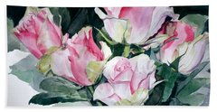 Watercolor Of A Pink Rose Bouquet Celebrating Ezio Pinza Bath Towel
