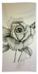 Rose In Monotone Hand Towel