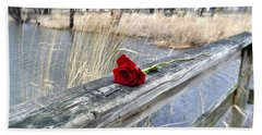 Hand Towel featuring the photograph Rose On A Bridge by Verana Stark
