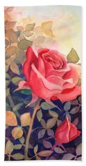 Rose On A Warm Day Hand Towel by Marilyn Jacobson