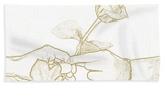 Rose Outline By Jan Marvin Studios Bath Towel