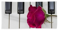 Rose Over Piano Keys Hand Towel