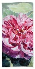 Watercolor Of A Pink Rose In Full Bloom Dedicated To Van Gogh Bath Towel