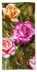 Bath Towel featuring the painting Roses by Harsh Malik