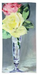 Roses In A Champagne Glass Hand Towel