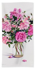 Roses In A Glass Jar  Hand Towel