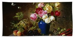 Roses In A Vase Peaches Nuts And A Melon On A Marbled Ledge Hand Towel
