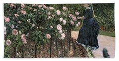 Roses In The Garden At Petit Gennevilliers Hand Towel