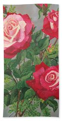 Roses N' Rain Hand Towel by Sharon Duguay