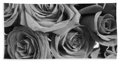 Bath Towel featuring the photograph Roses On Your Wall Black And White  by Joseph Baril