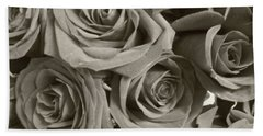 Bath Towel featuring the photograph Roses On Your Wall Sepia by Joseph Baril