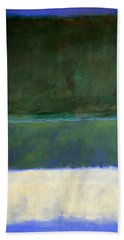 Rothko's No. 14 -- White And Greens In Blue Hand Towel by Cora Wandel