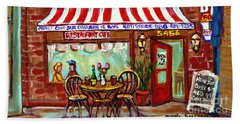 Rotisserie Le Chalet Bbq Restaurant Paintings Storefronts Street Scenes Diners Montreal Art Cspandau Hand Towel