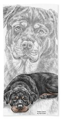 Rottie Charm - Rottweiler Dog Print With Color Hand Towel