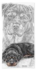 Rottie Charm - Rottweiler Dog Print With Color Bath Towel