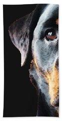 Rottie Love - Rottweiler Art By Sharon Cummings Bath Towel