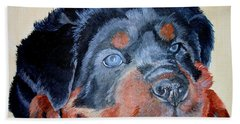 Bath Towel featuring the painting Rottweiler Puppy Portrait by Tracey Harrington-Simpson