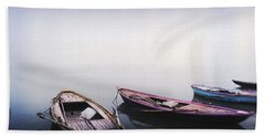 Row Boats In A River, Ganges River Hand Towel