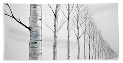 Row Of Birch Trees In The Snow Hand Towel