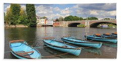 Rowing Boats At Hampton Court Hand Towel