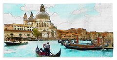 Rowing In Venice Hand Towel