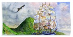 Royal Clipper Leaving St. Lucia Hand Towel by John D Benson