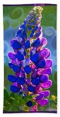 Royal Purple Lupine Flower Abstract Art Bath Towel