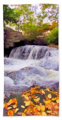 Royal River White Waterfall Hand Towel by Elizabeth Dow
