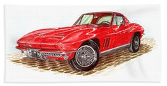 Ruby Red 1966 Corvette Stingray Fastback Bath Towel by Jack Pumphrey