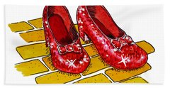 Ruby Slippers The Wizard Of Oz  Hand Towel by Irina Sztukowski