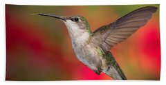Bath Towel featuring the photograph Ruby Throated Hummingbird by Dale Kincaid
