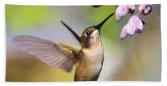 Ruby-throated Hummingbird - Digital Art Hand Towel