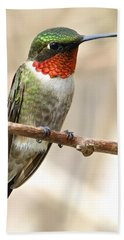 Ruby Throated Hummingbird Bath Towel