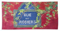 Bath Towel featuring the painting Rue Des Rosiers In Paris by Mary Ellen Mueller Legault