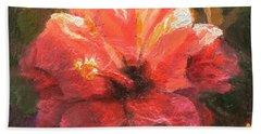Ruffled Light Double Hibiscus Flower Bath Towel
