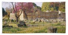 Ruins Of A Building, Ancient Olympia Bath Towel