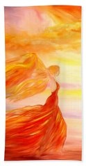Bath Towel featuring the painting Running Along The Beach by Lilia D
