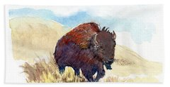 Bath Towel featuring the painting Running Buffalo by C Sitton