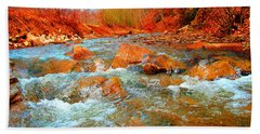 Running Creek 2 By Christopher Shellhammer Bath Towel