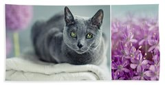 Russian Blue Collage Hand Towel
