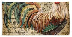 Rustic Rooster-jp2120 Bath Towel by Jean Plout
